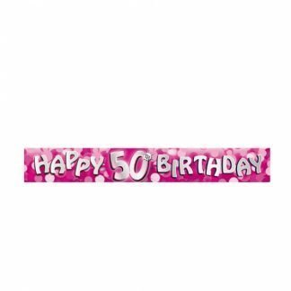 50th Pink happy birthday banner